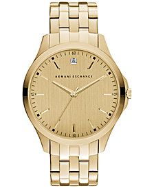 A|X Armani Exchange Men's Diamond Accent Gold-Tone Stainless Steel Bracelet Watch 46mm AX2167