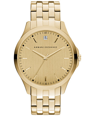 A X Armani Exchange Men's Diamond Accent Gold-Tone Stainless Steel Bracelet Watch 46mm AX2167