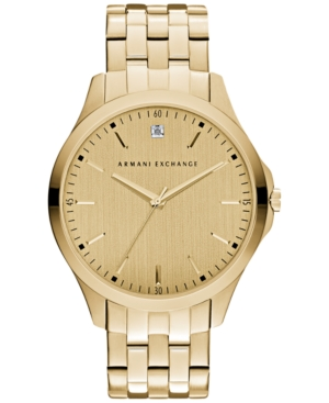 AX Armani Exchange Men's Diamond Accent Gold-Tone Stainless Steel Bracelet Watch 46mm AX2167