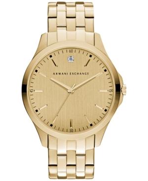 AX Armani Exchange Men's Diamond Accent Gold-Tone Stainless Steel Bracelet Watch 46mm AX2167