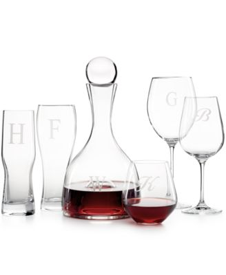 Tuscany Monogram Stemware, Set of 4 Script Letter Grand Bordeaux Wine Glasses
