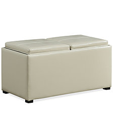 Avalon Faux Leather 5-Piece Storage Ottoman, Quick Ship