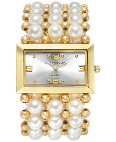 Charter Club Women's Gold-Tone Imitation Pearl Stretch Bracelet Watch 40mm 13831