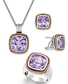 Amethyst Jewelry Set in 18k Rose Gold and Sterling Silver