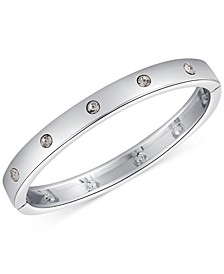 Silver-Tone Crystal Hinged Bracelet