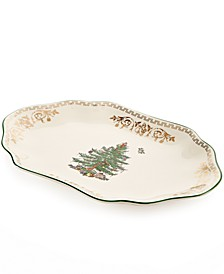 Christmas Tree Gold Oval Platter