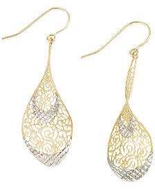 Two-Tone Openwork Teardrop Earrings in 14k Gold