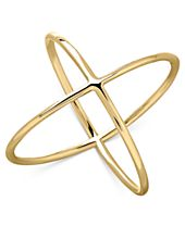 Intersecting X-Ring in 14k Gold