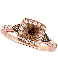 Chocolatier® Chocolate Diamond and White Diamond Ring in 14k Rose Gold (7/8 ct. t.w.)