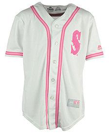 Majestic Seattle Mariners Pink Glitter Jersey, Girls (8-14)