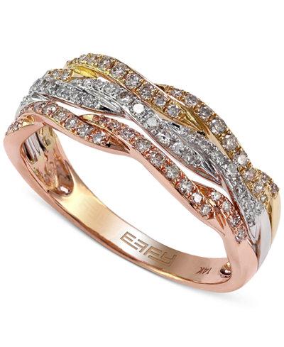 Effy Diamond Tri Tone Ring 1 3 Ct T W In 14k