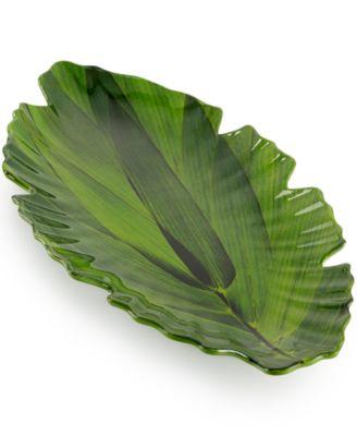 Zen Melamine Large Green Leaf Platter