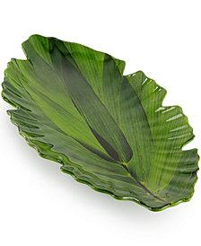 Q Squared Zen Melamine Large Green Leaf Platter