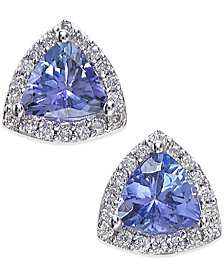 EFFY Tanzanite (3/4 ct. t.w.) and Diamond (1/8 ct. t.w.) Stud Earrings in 14k White Gold