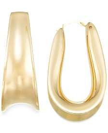 Signature Gold™ Wide-Set Hoop Earrings in 14k Gold over Resin