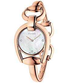Gucci Women's Swiss Horsebit Diamond Accent Rose Gold-Tone PVD Bangle Bracelet Watch 28mm YA139508