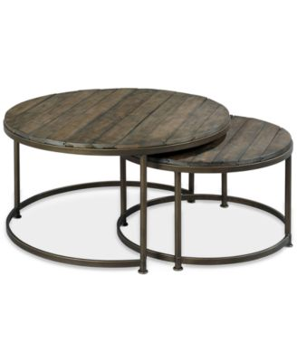 Link Wood Set of 2 Round Nesting Coffee Tables Furniture Macys