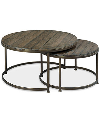 Link Wood Set Of 2 Round Nesting Coffee Tables Furniture Macy 39 S
