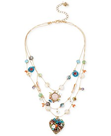 Gold-Tone Multicolor Beaded Illusion Necklace