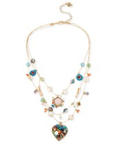 acf87cb25d0c Betsey Johnson Gold-Tone Multicolor Beaded Illusion Necklace