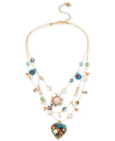 Betsey Johnson Gold-Tone Multicolor Beaded Illusion Necklace