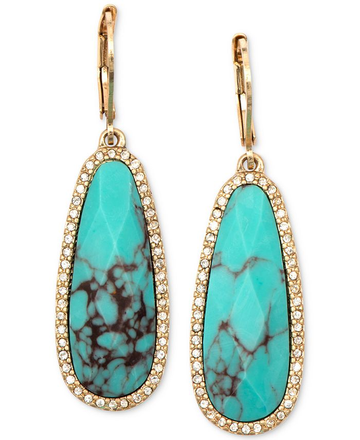 lonna & lilly - Gold-Tone Stone and Crystal Drop Earrings