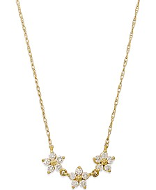 Cubic Zirconia Linked Flower Pendant Necklace in 10k Gold