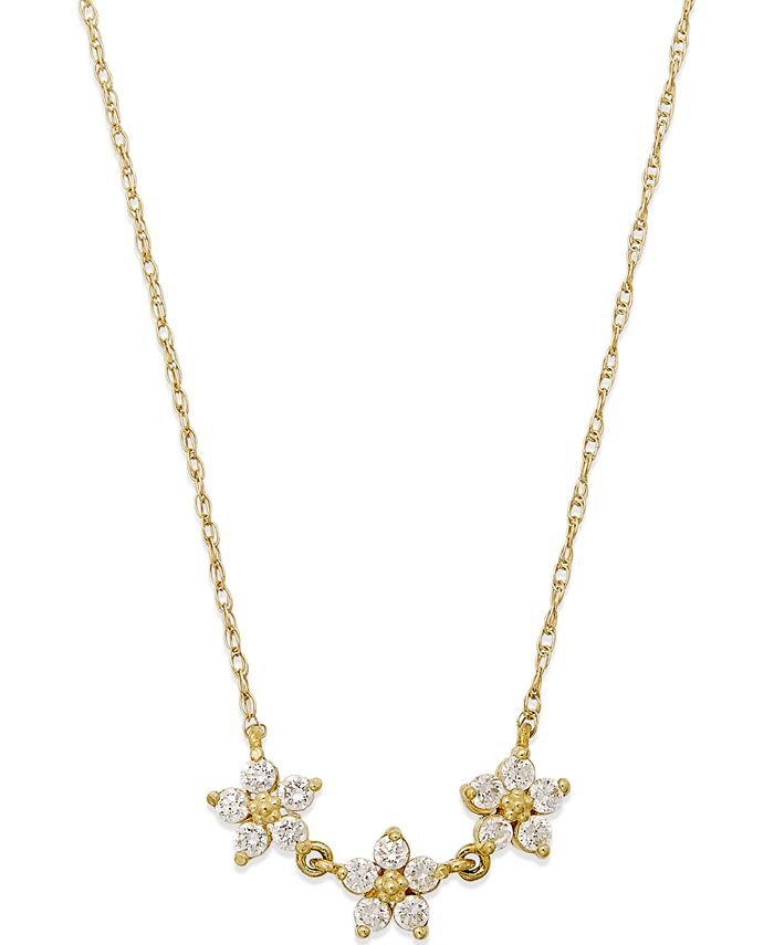 Macy's - Cubic Zirconia Linked Flower Pendant Necklace in 10k Gold