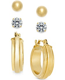 Stud and Hoop Earring Set in 10k Gold