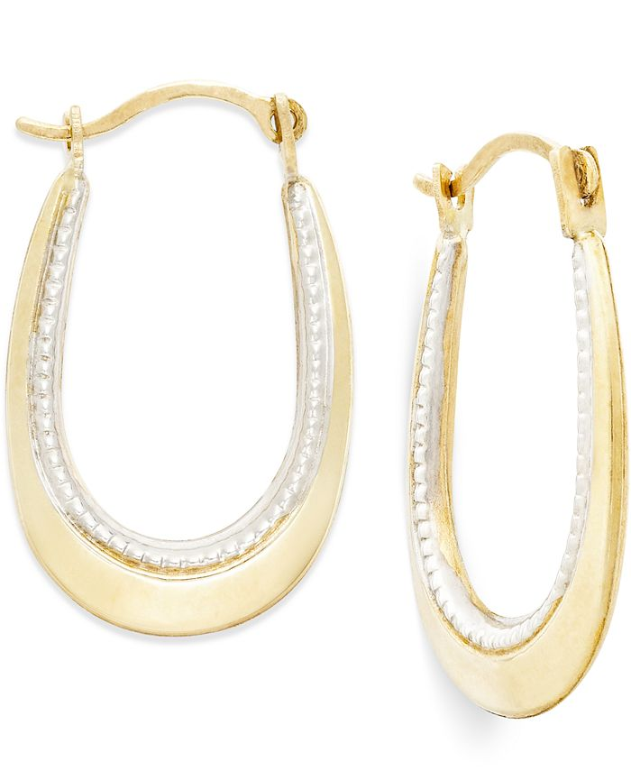 Macy's - Two-Tone Oval Hoop Earrings in 10k Gold and Polished Rhodium