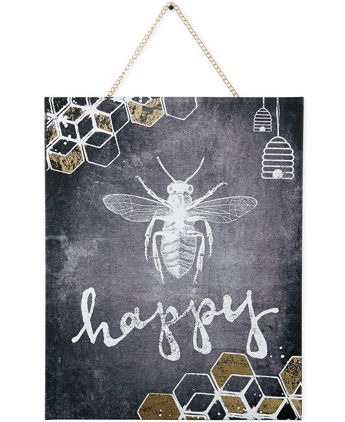Graham & Brown - Canvas Mixed Media Bee Happy Wall Art