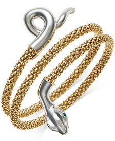 Emerald-Accent Snake Wrap Bracelet in 14k Gold Vermeil and Sterling Silver