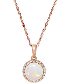 Opal (3/4 ct. t.w.) and Diamond Accent Pendant Necklace in 14k Rose Gold
