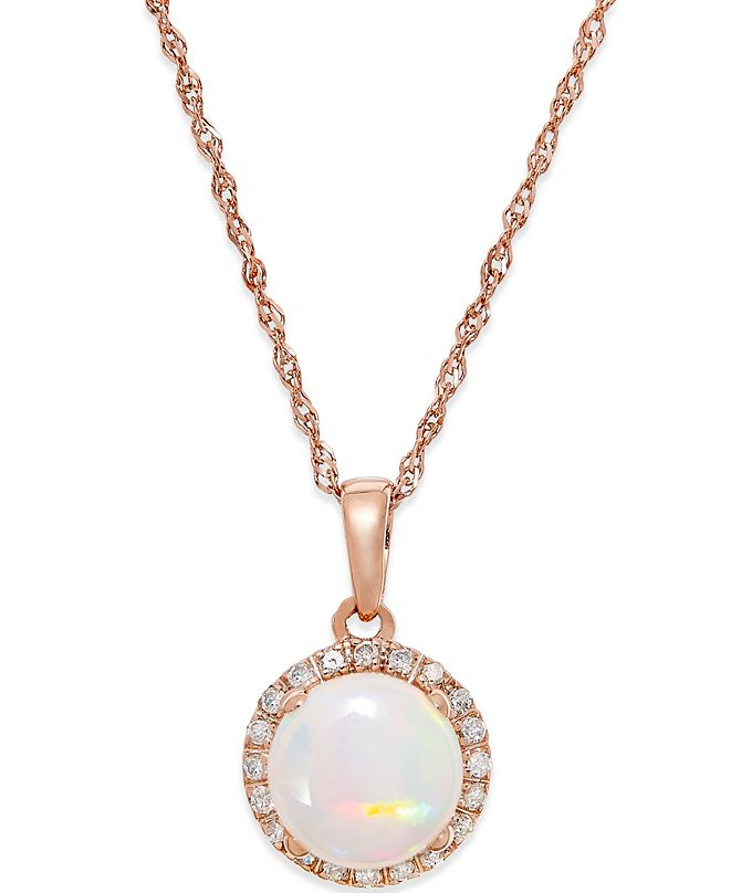 Macy's Opal (3/4 ct. t.w.) and Diamond Accent Pendant Necklace in 14k Rose Gold