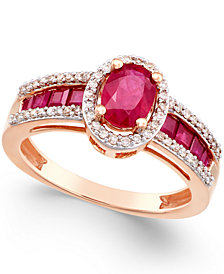 Sapphire (1-3/4 ct. t.w.) and Diamond (1/4 ct. t.w.) Ring in 14k Gold (Also in Emerald & Certified Ruby)