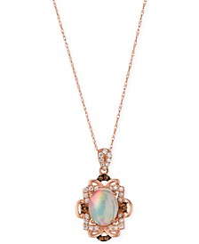 Opal (1-1/5 ct. t.w.) and Diamond (1/3 ct. t.w.) Pendant Necklace in 14k Rose Gold, Created for Macy's