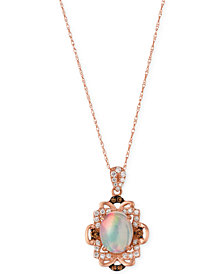 Le Vian Opal (1-1/5 ct. t.w.) and Diamond (1/3 ct. t.w.) Pendant Necklace in 14k Rose Gold, Created for Macy's
