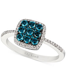 White and Blue Diamond Ring (5/8 ct. t.w.) in 14k White Gold