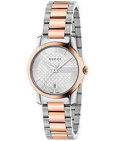 Gucci Women's Swiss G-Timeless Two-Tone PVD Stainless Steel Bracelet Watch 27mm YA126528