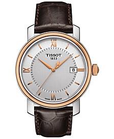 Men's Swiss Bridgeport Brown Leather Strap Watch 40mm T0974102603800