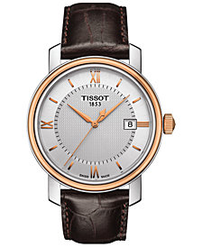 Tissot Men's Swiss Bridgeport Brown Leather Strap Watch 40mm T0974102603800