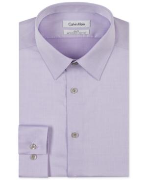 Calvin Klein Steel Mens Slim-Fit Non-Iron Performance Herringbone Point Collar Dress Shirt