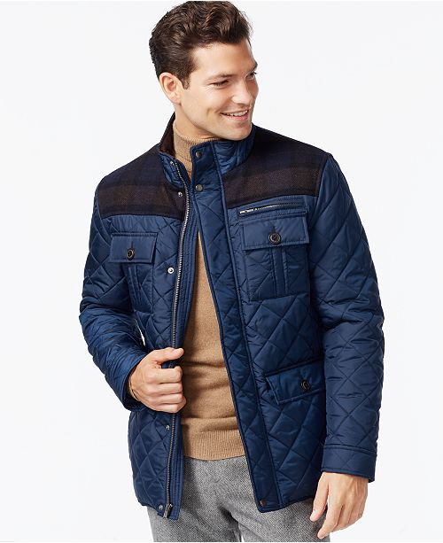 jacket quilt haan coats cotton details blue clay cole nautical front leather sp mens quilted w zip sport