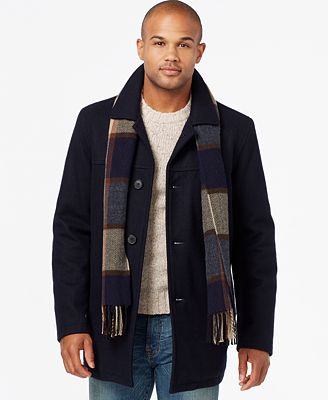 Tommy Hilfiger Men's Big & Tall Melton Peacoat with Scarf - Coats ...