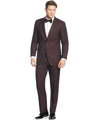 Perry Ellis Portfolio Burgundy Solid Slim-Fit Suit - Suits & Suit ...