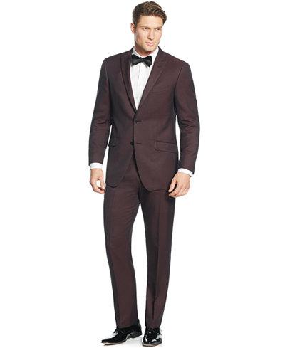 Perry Ellis Portfolio Burgundy Solid Slim-Fit Suit - Suits & Suit