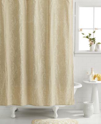 Lenox Bath Accessories, French Perle Shower Curtain