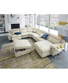 CLOSEOUT! Julius Leather Power Reclining Sectional Sofa Collection, Created for Macy's