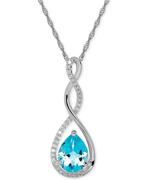 "Macy's Birthstone and Diamond (1/10 ct. t.w.) 18"" Pendant Necklace in 14k White or Yellow Gold"
