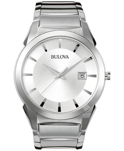 bulova men s stainless steel bracelet watch 38mm 96b015 watches bulova men s stainless steel bracelet watch 38mm 96b015